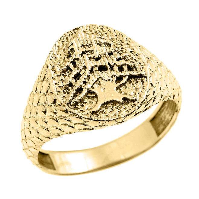 Yellow Gold Textured Band Lebanese Cedar Tree Men's Ring