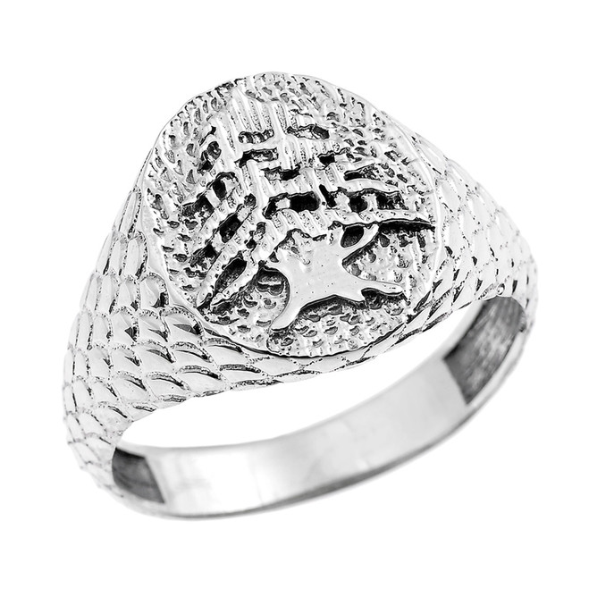 White Gold Textured Band Lebanese Cedar Tree Men's Ring
