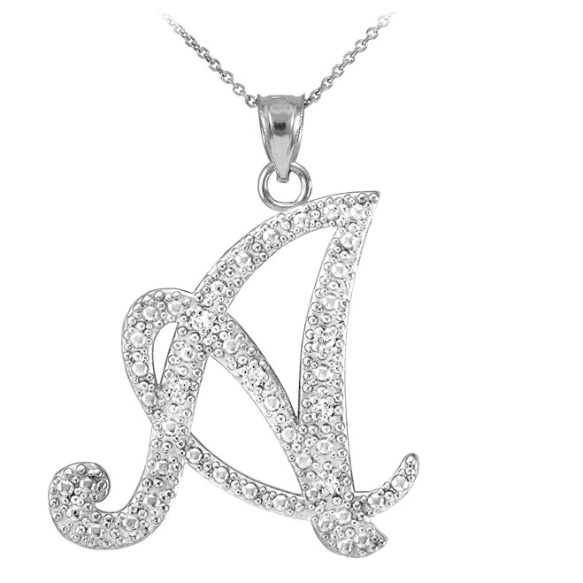 "14k White Gold Letter Script ""A"" Diamond Initial Pendant Necklace"