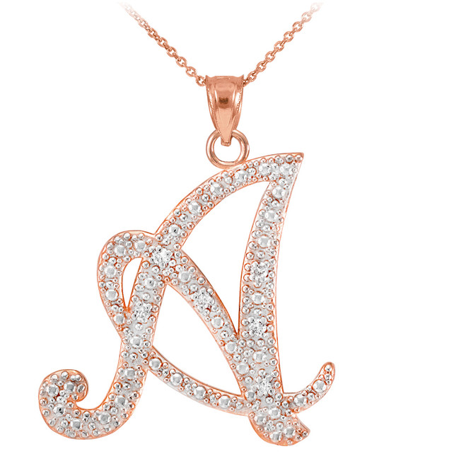 "14k Rose Gold Letter Script ""A"" Diamond Initial Pendant Necklace"