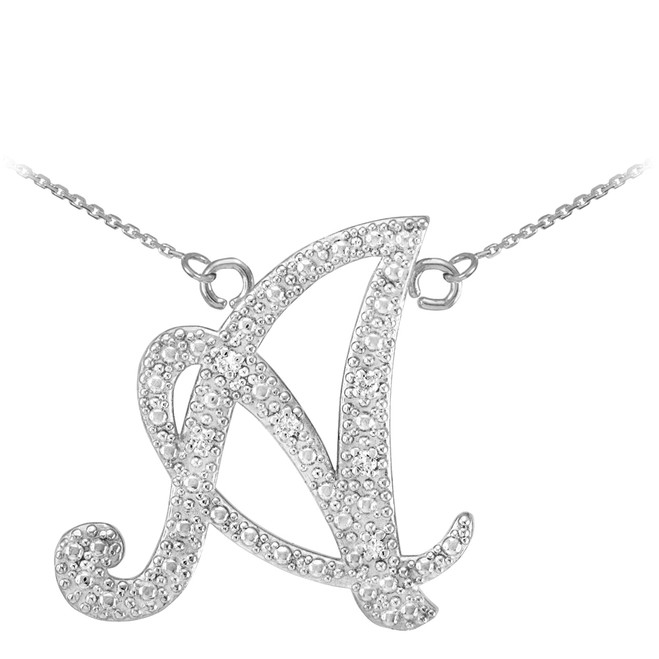 "14k White Gold Letter Script ""A"" Diamond Initial Necklace"