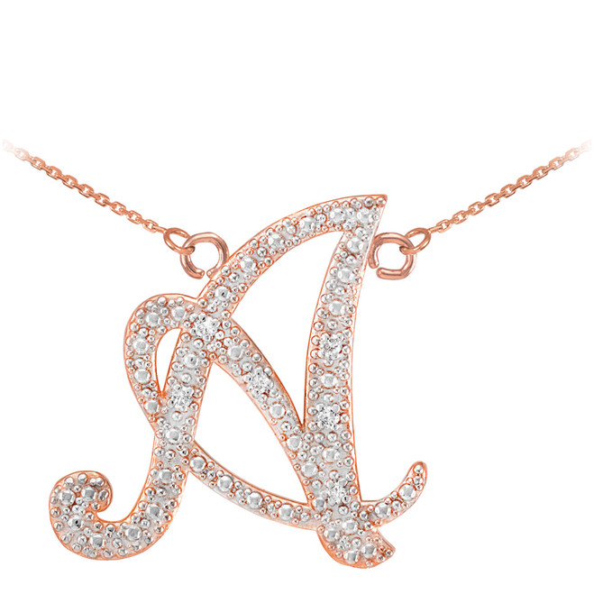 "14k Rose Gold Letter Script ""A"" Diamond Initial Necklace"