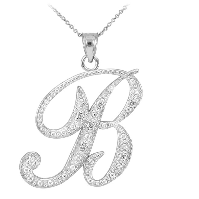 "Sterling Silver Letter Script ""B"" CZ Initial Necklace"