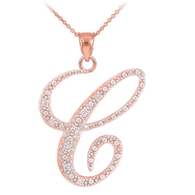 """14k Rose Gold Letter Script """"C"""" Diamond Initial Pendant Necklace"""