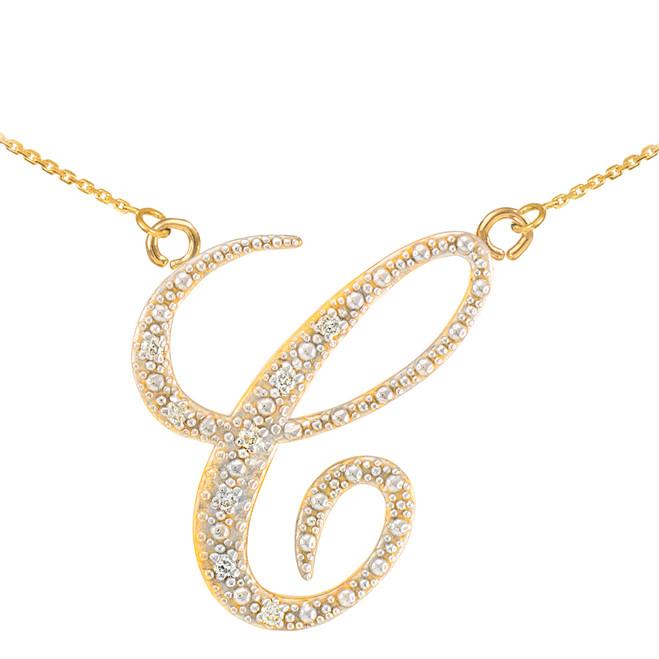 """14k Gold Letter Script """"C"""" Diamond Initial Necklace"""
