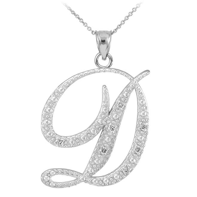 """14k White Gold Letter Script """"D"""" Diamond Initial Pendant Necklace"""