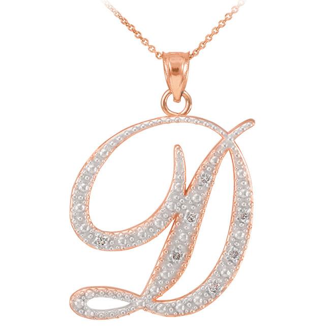 """14k Rose Gold Letter Script """"D"""" Diamond Initial Pendant Necklace"""