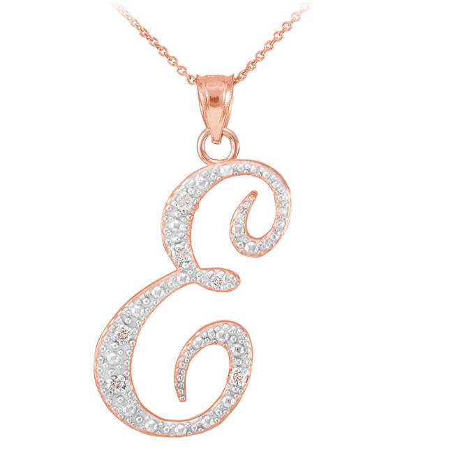 14k rose gold letter script quotcquot diamond initial pendant for Rose gold letter charms