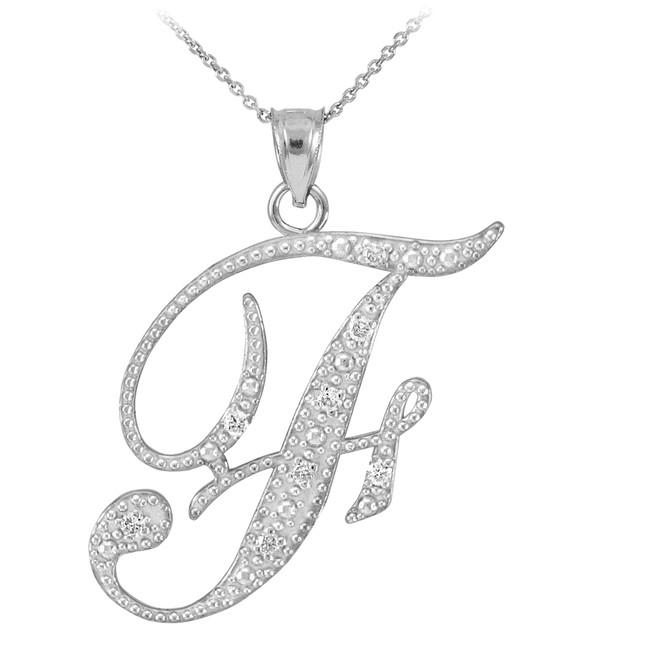 "14k White Gold Letter Script ""F"" Diamond Initial Pendant Necklace"
