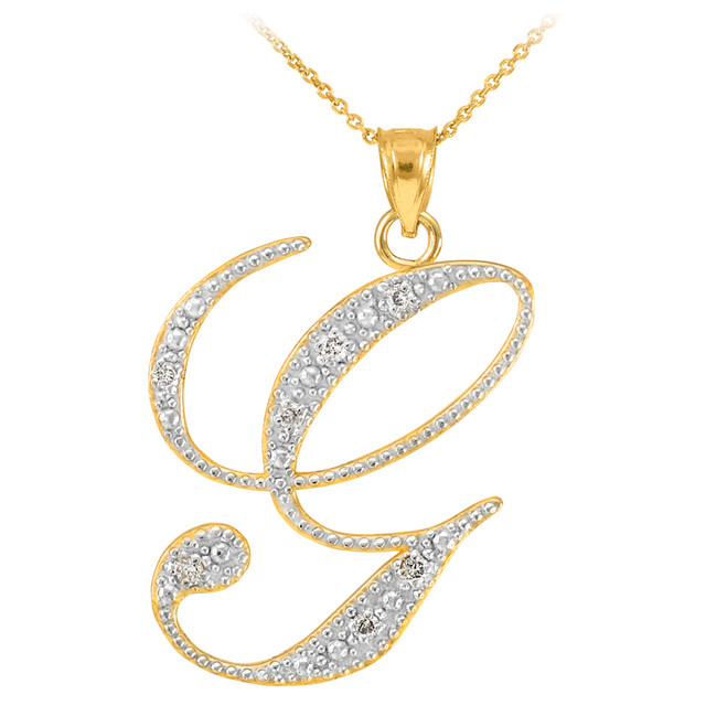 "14k Gold Letter Script ""G"" Diamond Initial Pendant Necklace"