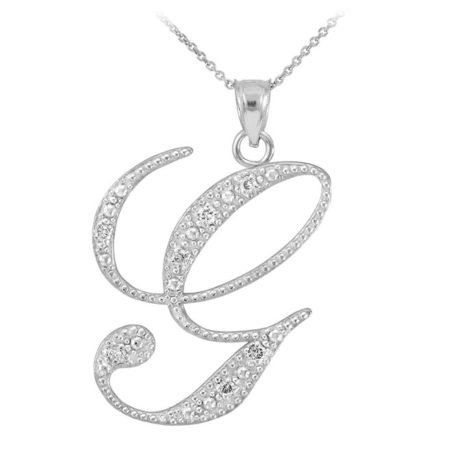 """Sterling Silver Letter Script """"G"""" CZ Initial Necklace"""