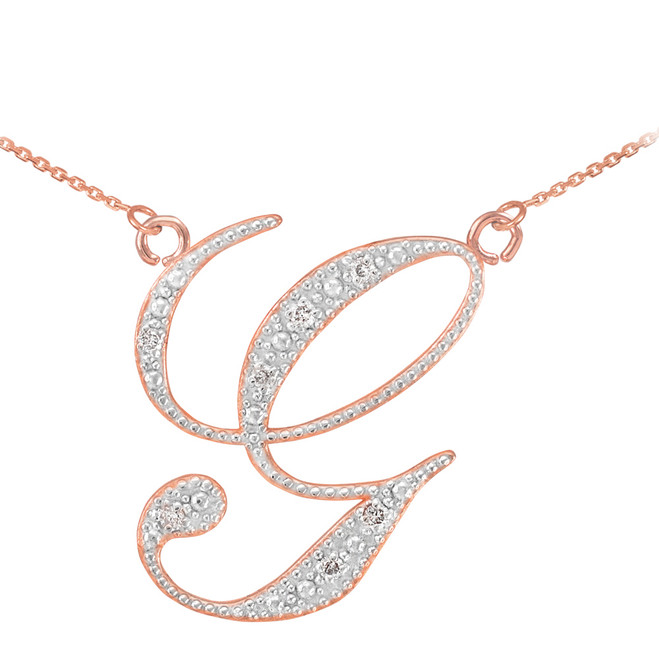 "14k Rose Gold Letter Script ""G"" Diamond Initial Necklace"