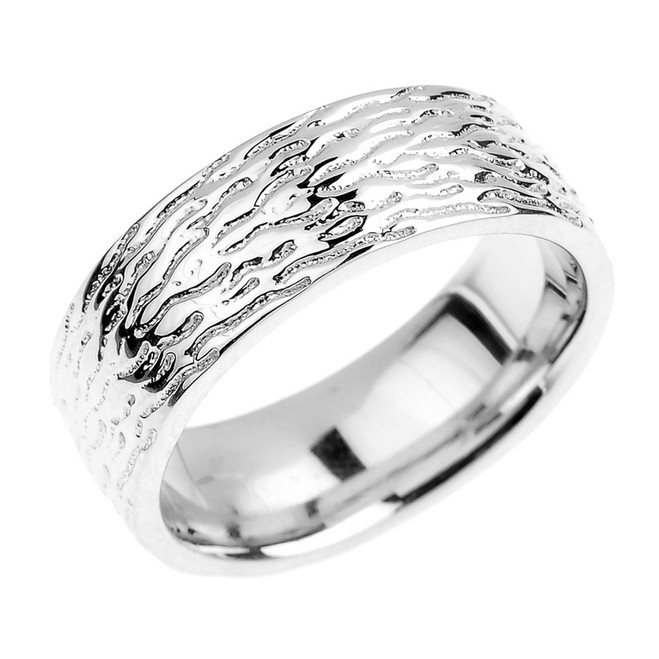 Textured Sterling Silver Wedding Band - 7 MM