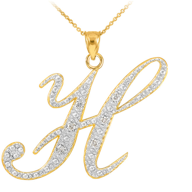 "14k Gold Letter Script ""H"" Diamond Initial Pendant Necklace"