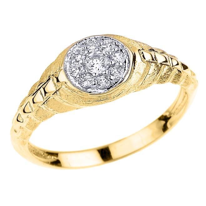 Yellow Gold Watchband Design Diamond Studded Unisex Ring