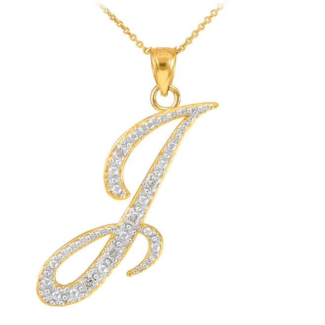 "14k Gold Letter Script ""I"" Diamond Initial Pendant Necklace"