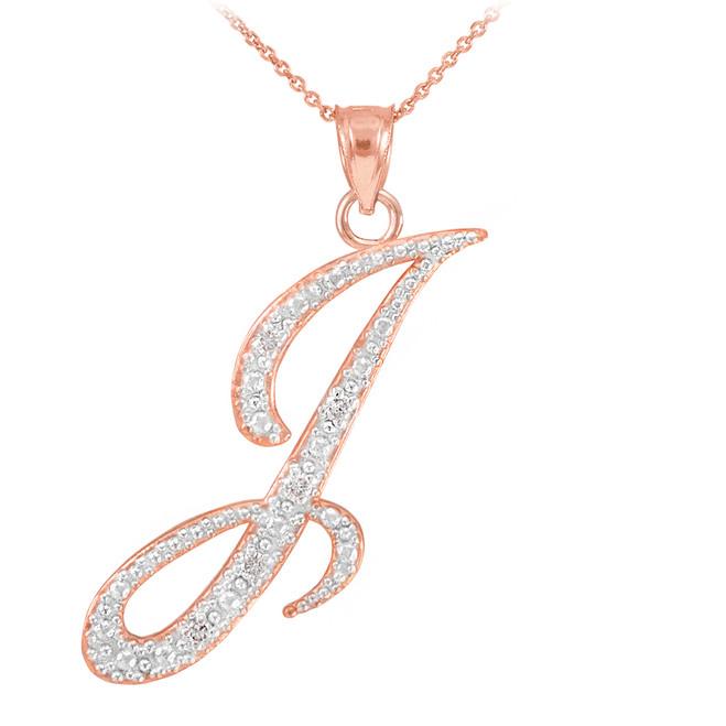 "14k Rose Gold Letter Script ""I"" Diamond Initial Pendant Necklace"