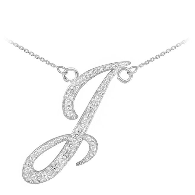 "14k White Gold Letter Script ""I"" Diamond Initial Necklace"
