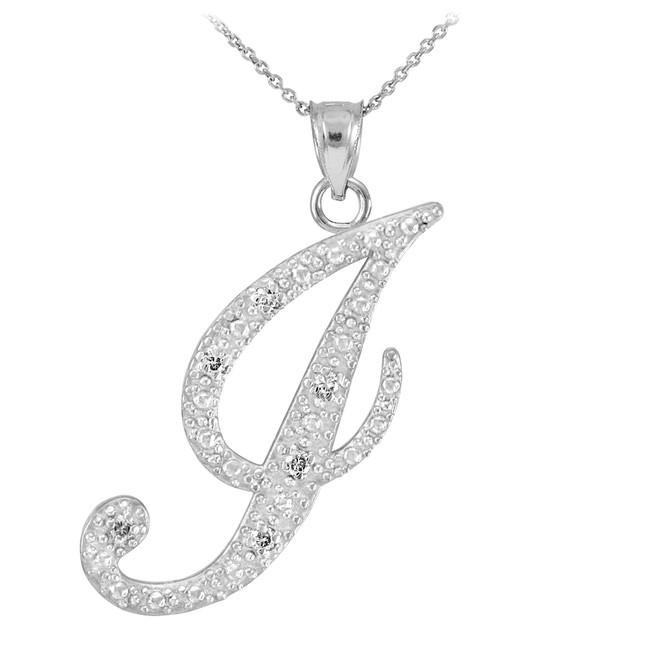 "14k White Gold Letter Script ""J"" Diamond Initial Pendant Necklace"