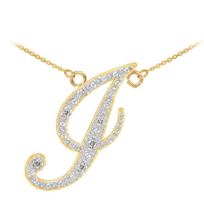 """14k Gold Letter Script """"J"""" Diamond Initial Necklace"""