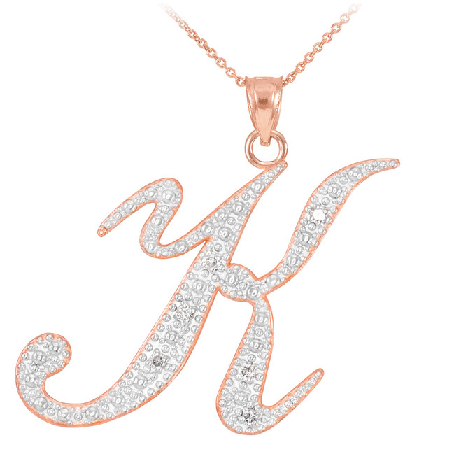"14k Rose Gold Letter Script ""K"" Diamond Initial Pendant Necklace"