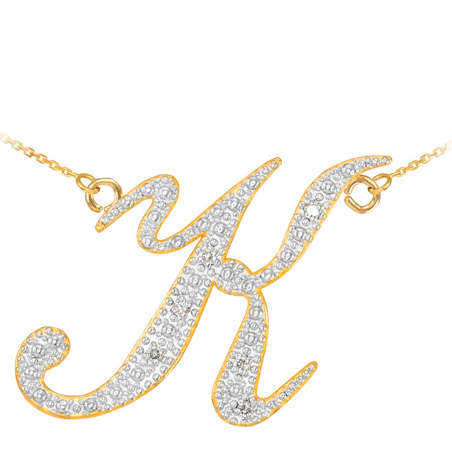 "14k Gold Letter Script ""K"" Diamond Initial Necklace"