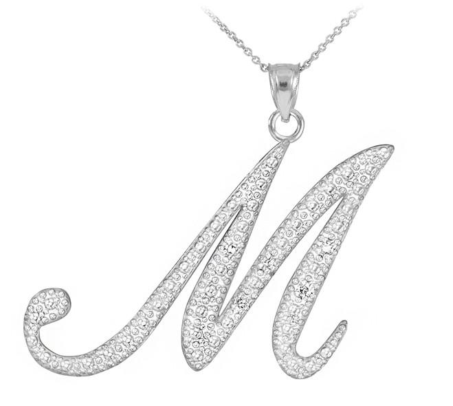 "14k White Gold Letter Script ""M"" Diamond Initial Pendant Necklace"