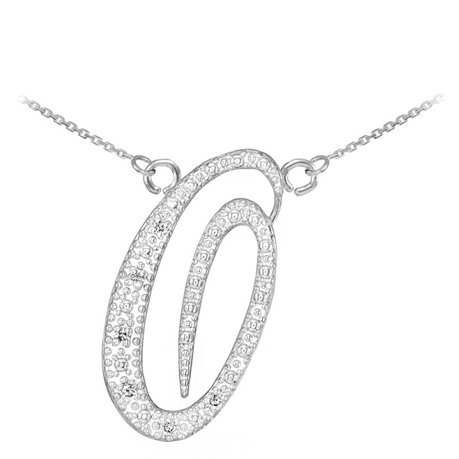 "14k White Gold Letter Script ""O"" Diamond Initial Necklace"