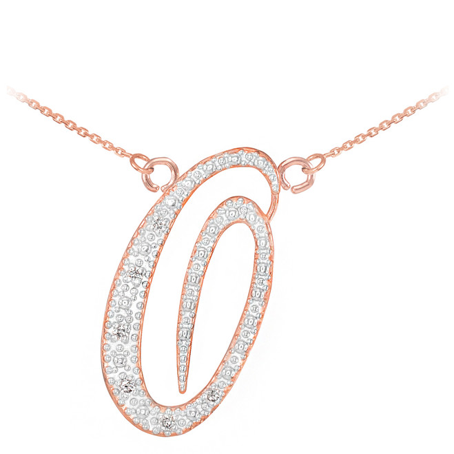 "14k Rose Gold Letter Script ""O"" Diamond Initial Necklace"