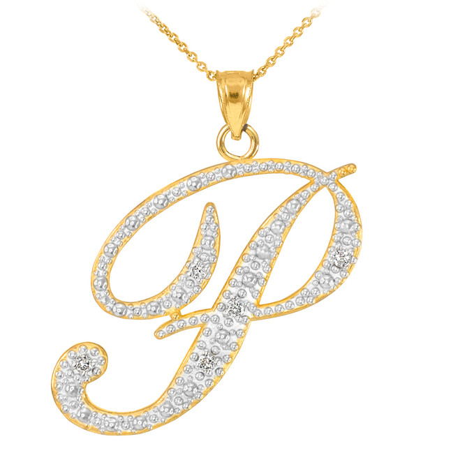 "14k Gold Letter Script ""P"" Diamond Initial Pendant Necklace"