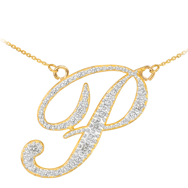 "14k Gold Letter Script ""P"" Diamond Initial Necklace"