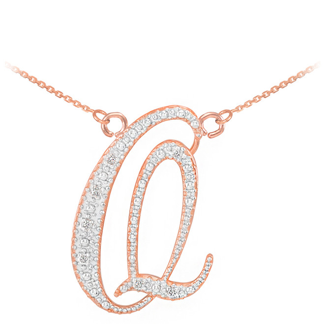 "14k Rose Gold Letter Script ""Q"" Diamond Initial Necklace"