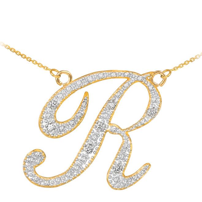 """14k Gold Letter Script """"R"""" Diamond Initial Necklace"""