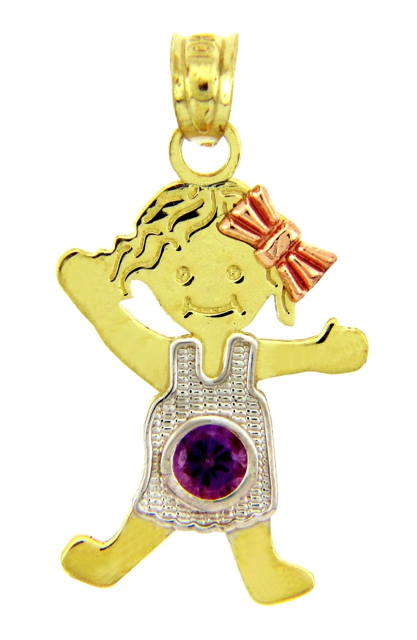Baby charms and pendants baby birthstone pendants yellow gold february amethyst baby birthstone pendant aloadofball Gallery
