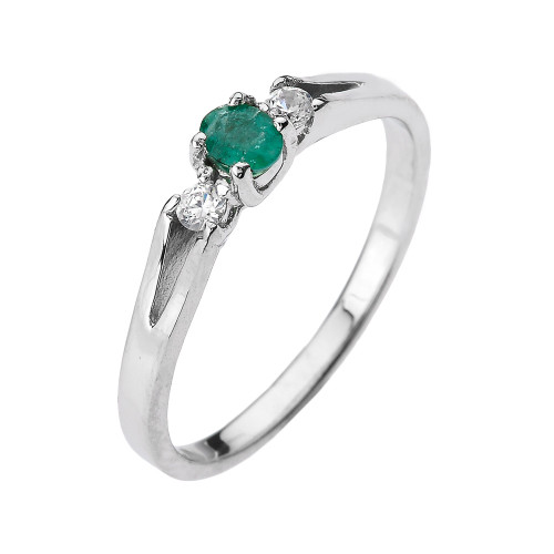 Shop Our Beautiful Diamond Proposal Rings At Fascinating: Beautiful White Gold Diamond With Emerald Proposal And