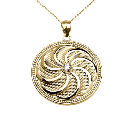 Yellow gold shield armenian eternity diamond pendant necklace aloadofball Images