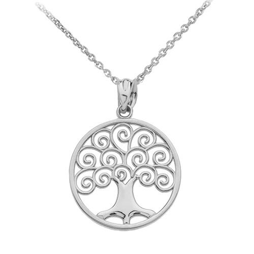 14k white gold polished tree of life openwork pendant necklace white gold polished tree of life openwork pendant necklace aloadofball Image collections