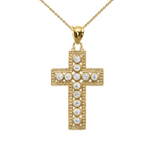 Yellow gold diamond cross pendant necklace aloadofball Gallery