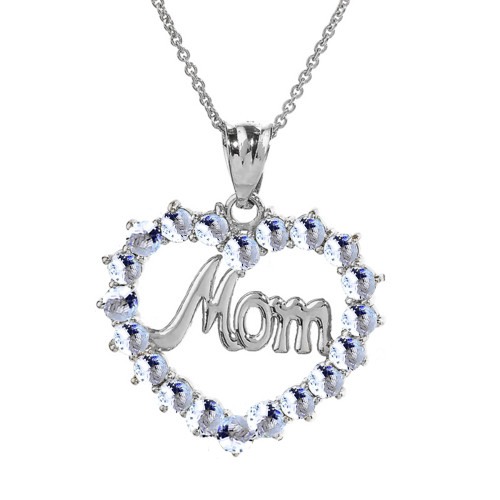 Sterling silver mom aquamrine cz open heart pendant necklace sterling silver gold mom aquamarine lcaq open heart pendant necklace aloadofball Image collections
