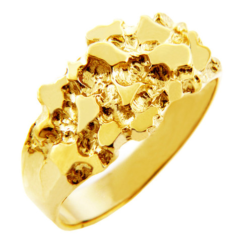Men s Gold Nug Rings The Knight Solid Gold Nug Ring