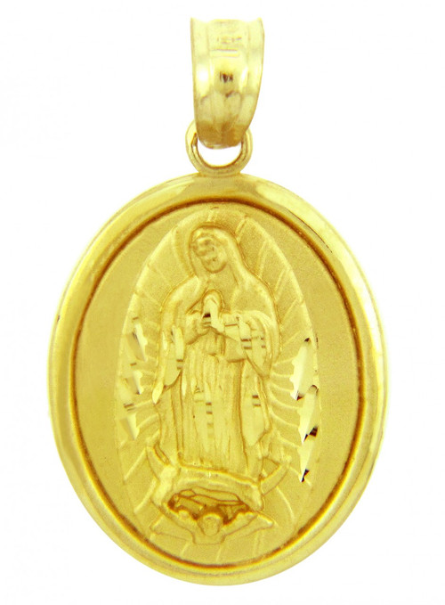 Religious Charms The Blessed Virgin Mary Yellow Gold Pendant