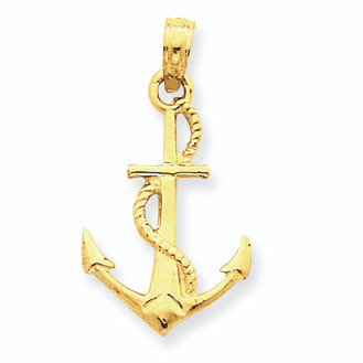 14k gold anchor pendant aloadofball Images