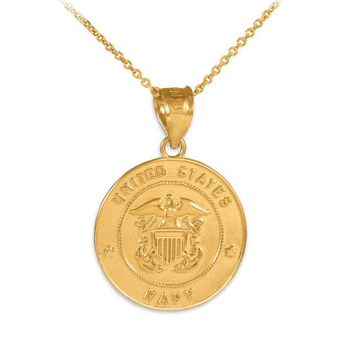 Solid gold us navy coin pendant us navy solid gold coin pendant necklace aloadofball Image collections