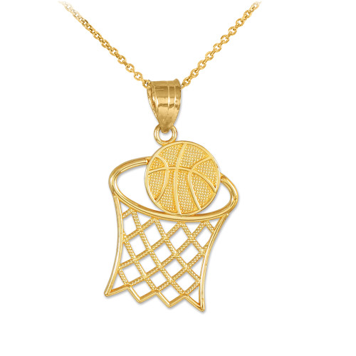 Yellow gold textured hoop and basketball charm pendant necklace gold textured hoop and basketball charm pendant necklace mozeypictures Gallery