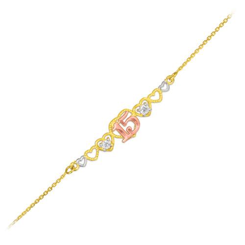 15 Anos Quinceanera 14k Tri Tone Gold Hearts Bracelet