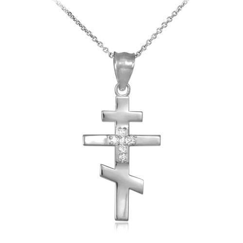 Cz studded silver russian orthodox cross pendant necklace aloadofball Gallery