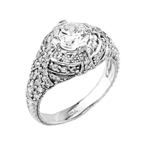 White Gold Cz Enement Rings | 14k White Gold Cubic Zirconia Engagement Ring Factory Direct Jewelry
