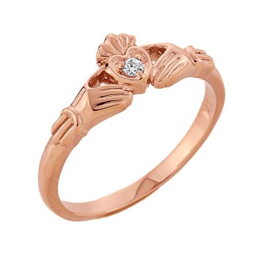 rose gold diamond claddagh promise ring. Black Bedroom Furniture Sets. Home Design Ideas