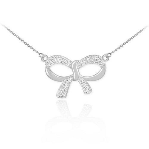 14k polished white gold diamond bow necklace white gold diamond bow necklace aloadofball Images
