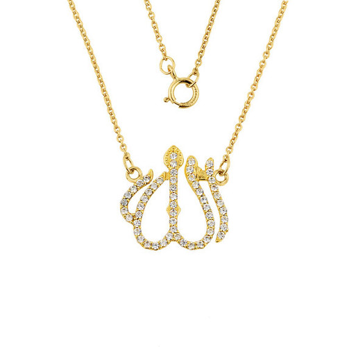 14k gold diamonds studded allah pendant necklace with rolo chain aloadofball Gallery